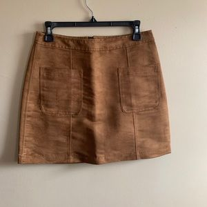 Suede zip up skirt